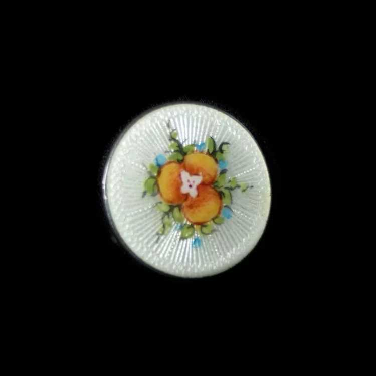 Vintage Sterling Guilloche Enamel Pansy Pin - image 7