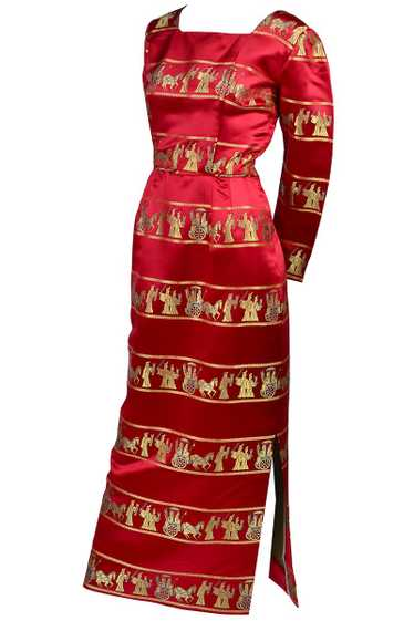 1960s Red Silk Satin Vintage Dress with Gold Asian