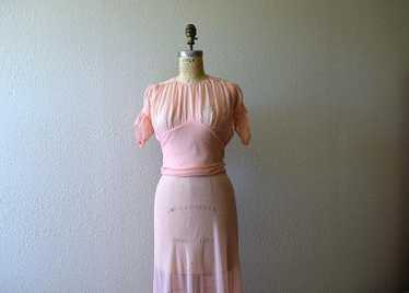 Vintage 1930s dress . 30s silk chiffon dress