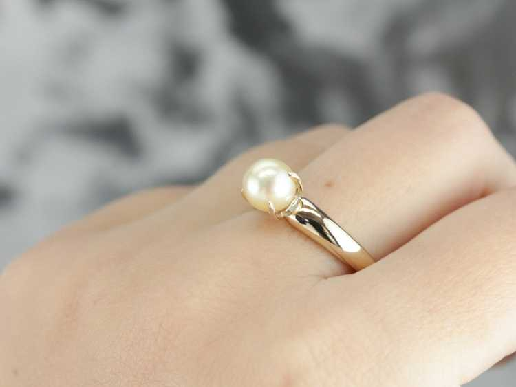 Classic Pearl Solitaire Gold Ring - image 5