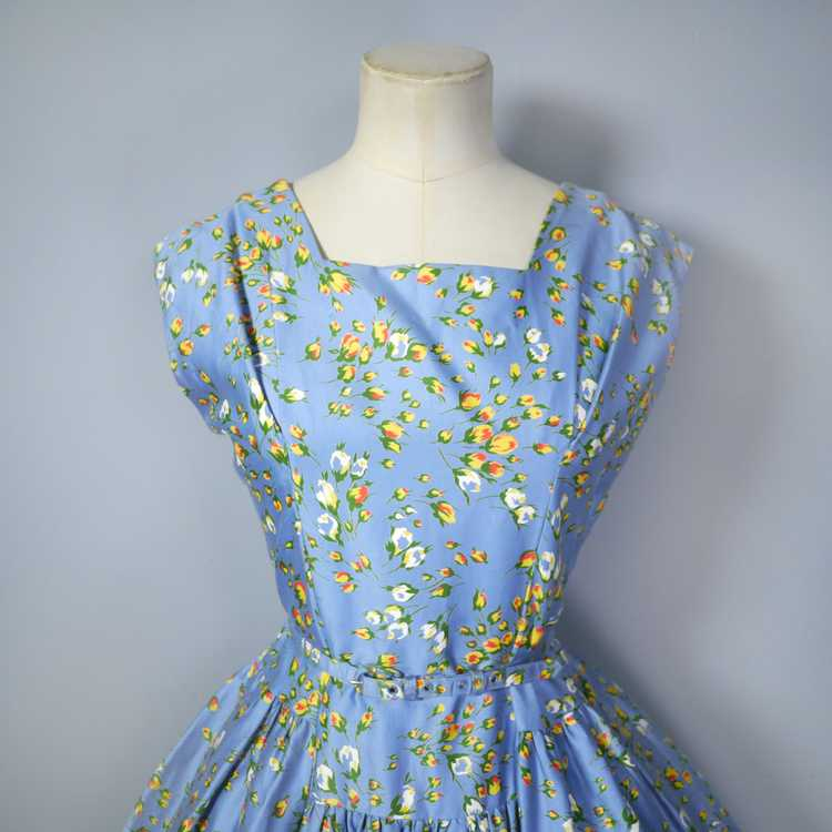 50s BLUE FULL SKIRTED DRESS BY RODNEY IN RED AND … - image 6