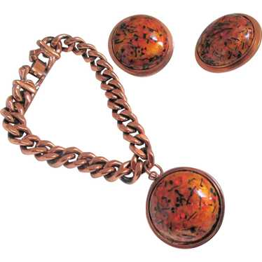 Matisse Renoir Orange Enamel Charm Bracelet and Cl