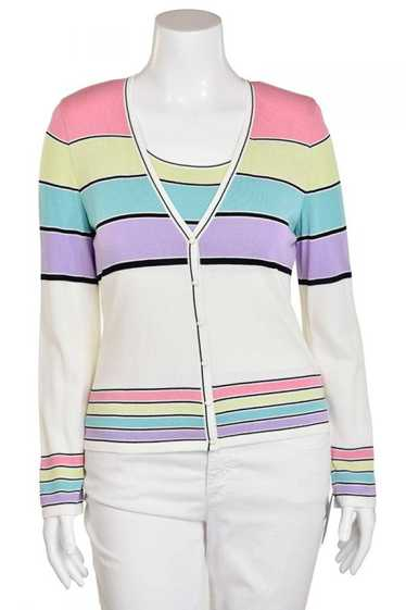Escada 2Pc Lilac Multi Stripe Cardigan & Shell Set