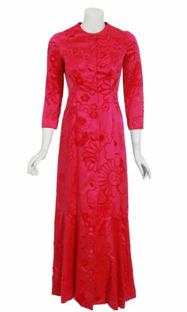 1970 Mainbocher Couture Pink Flocked Silk Hourglas