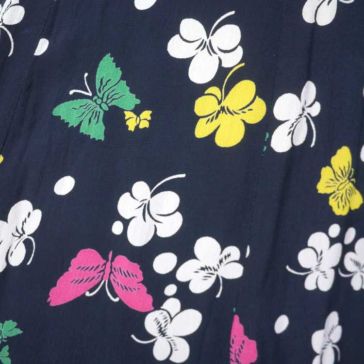 40s BUTTERFLY PRINT RAYON DRESS WITH PEPLUM AND K… - image 9