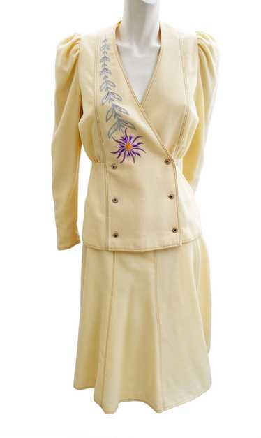 Bill Gibb Vintage Skirt Suit in Cream Wool Crepe w
