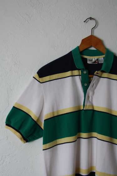 1980s 90s Short Sleeve Striped Knit Polo Shirt by