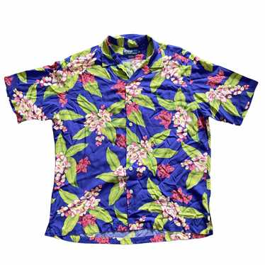 Polo rayon aloha shirt. Rayon large