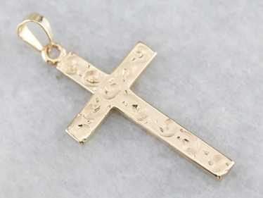 Etched Yellow Gold 1940's Cross