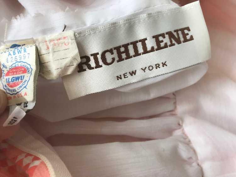 1980s Peach Diamond Print Dress with Balloon Slee… - image 7