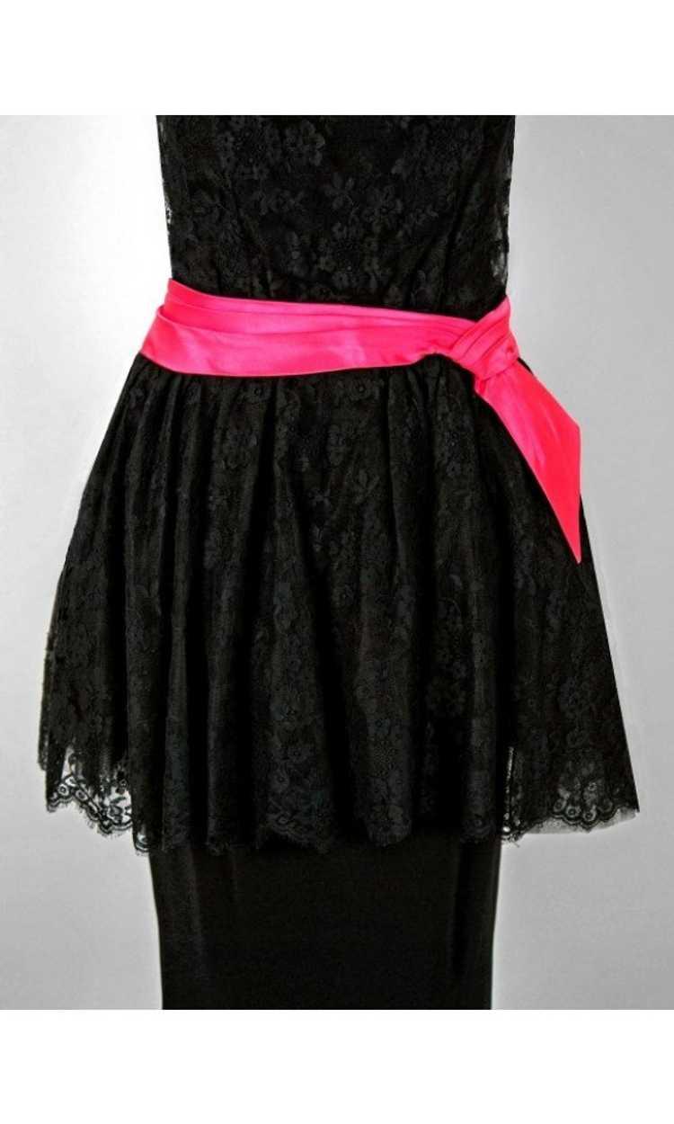 1950's Ceil Chapman Black & Pink Chantilly Lace S… - image 3