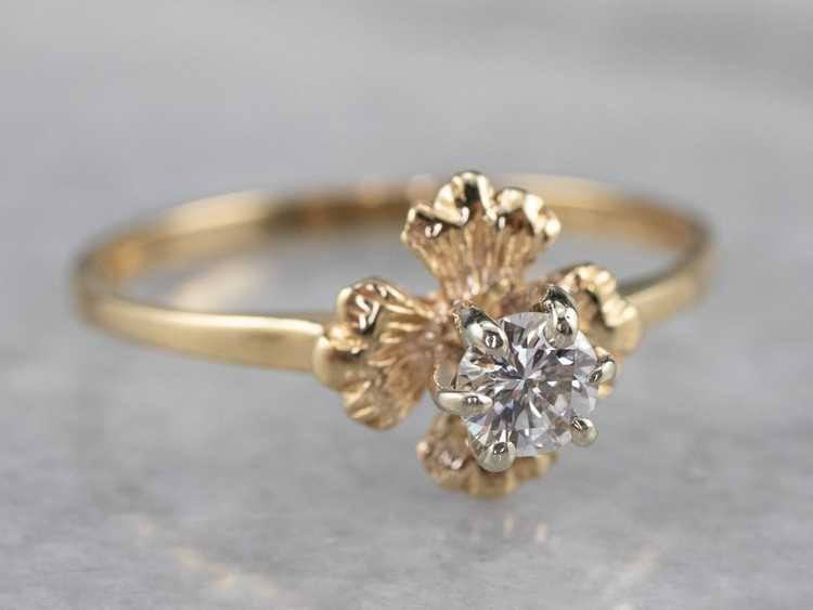 Floral Diamond and Gold Solitaire Ring - image 2