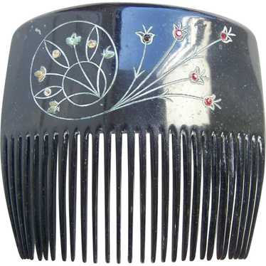 Victorian mourning hair comb engraved hair accesso