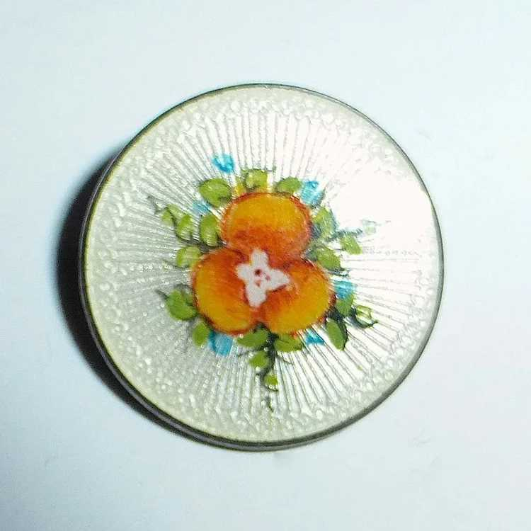 Vintage Sterling Guilloche Enamel Pansy Pin - image 3