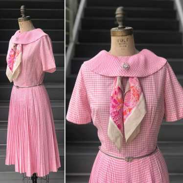 1960s Pink Pleated Collar Gingham Day Dress - image 1