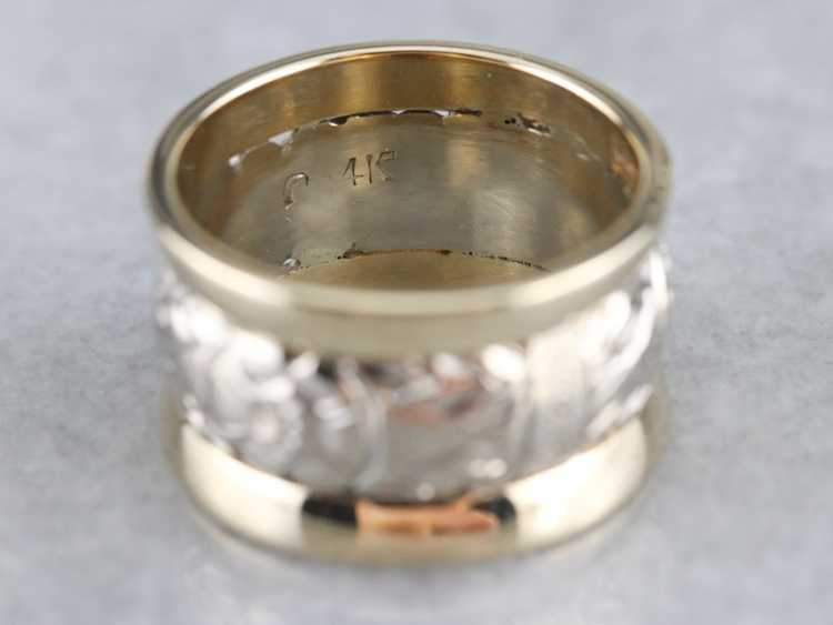 Patterned Two Tone Gold Wide Band - image 3