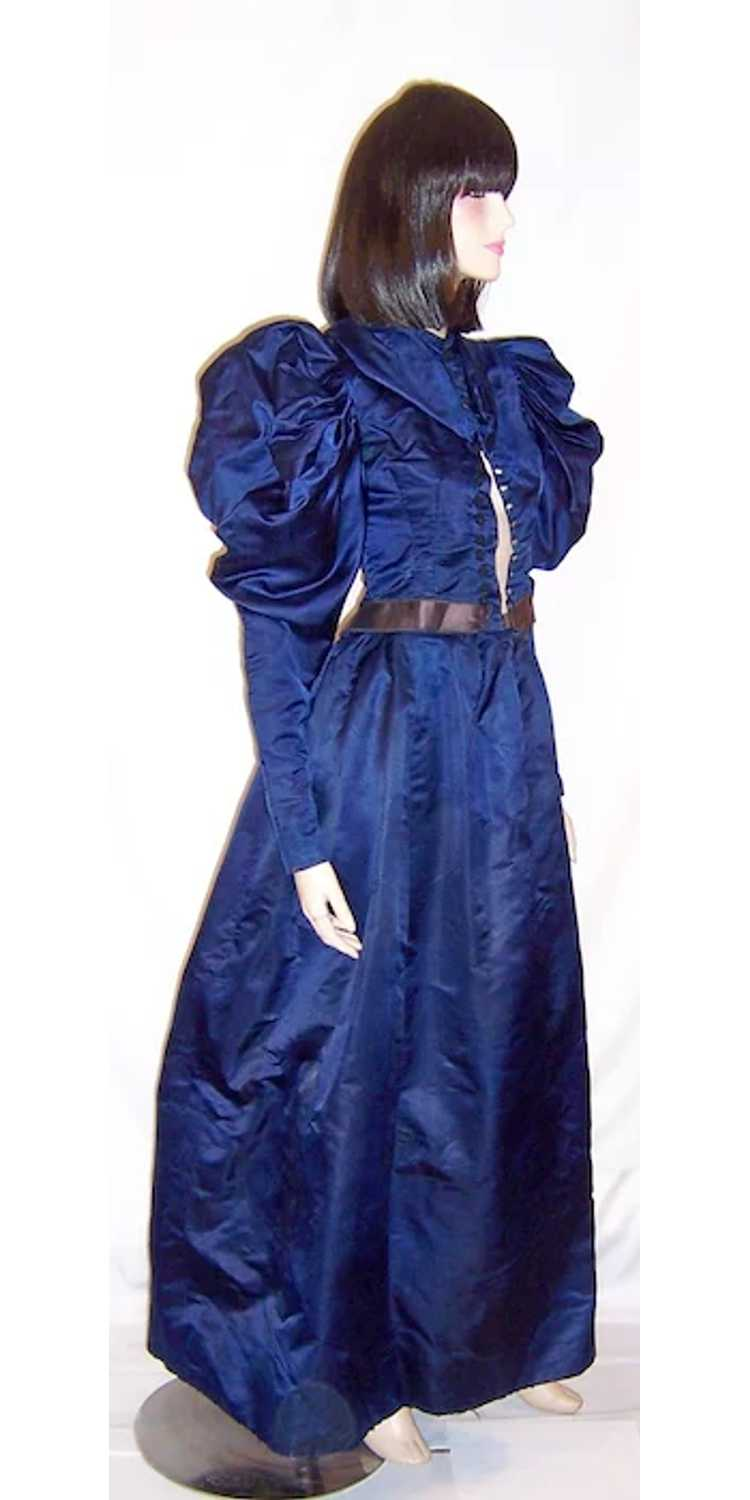 Vivid Navy Victorian (1890's The Gilded Age) Silk… - image 5