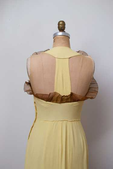 1930s Pale Yellow Crepe Dress | AS IS