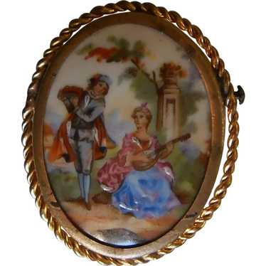Antique Limoges Hand Painted Porcelain Brooch | Ro