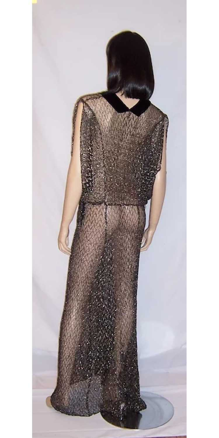 1930's Black & Silver Metallic Lace Gown with Vel… - image 3