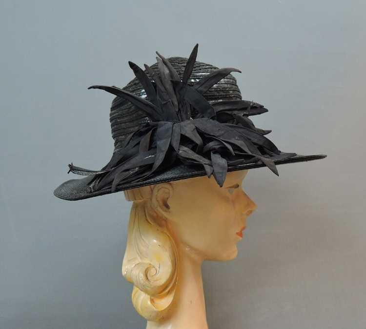 Vintage Wide Brim Hat, 1940s Straw & Shiny Vinyl,… - image 6
