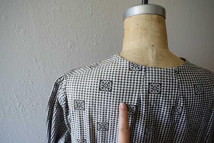 Antique calico dress . vintage gingham dress - image 7