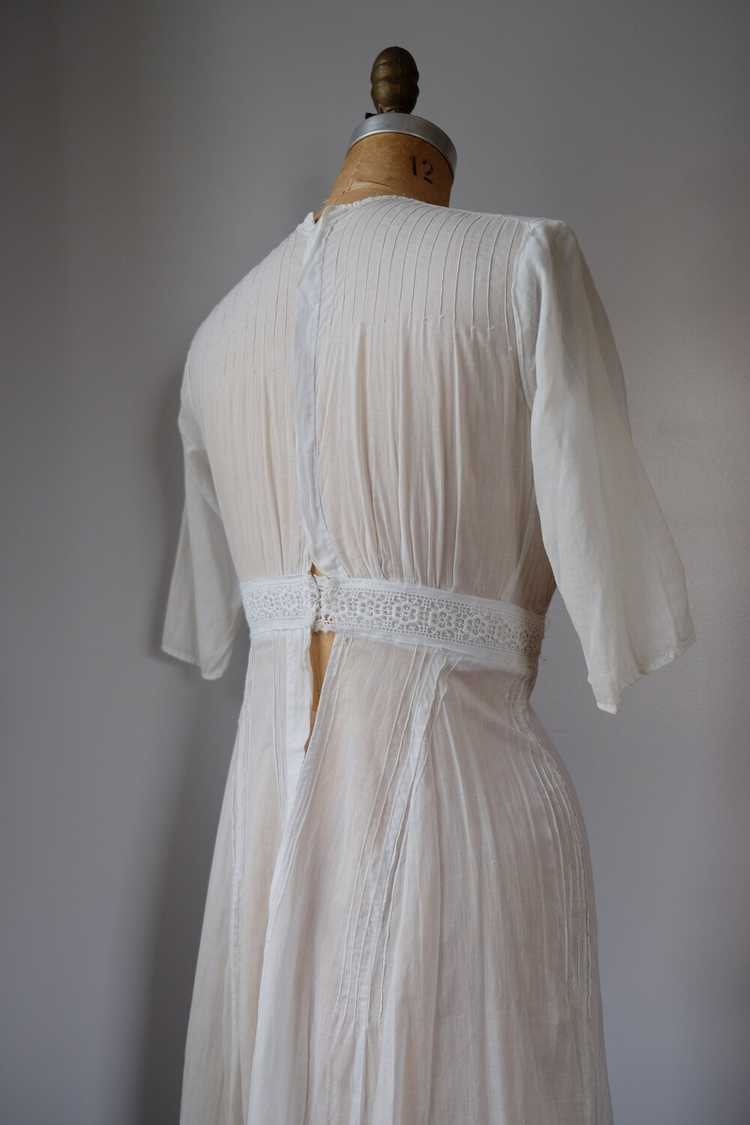 Edwardian Embroidered Batiste Cotton Lawn Dress - image 7