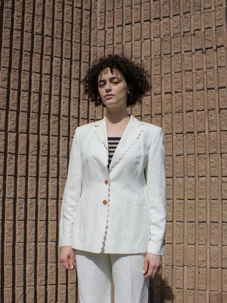 Louis Féraud Scalloped Linen Suit - image 4