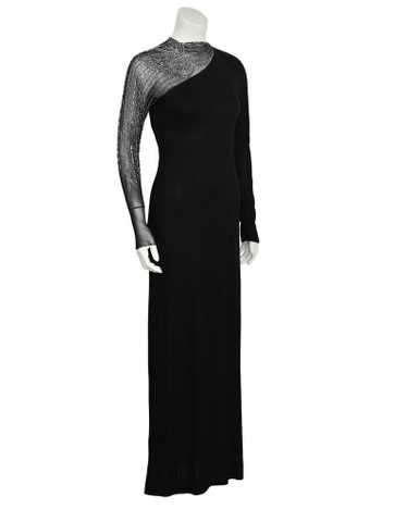 Mollie Parnis Black Gown with Illusion Beaded Slee