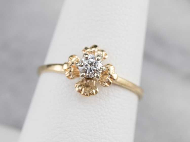 Floral Diamond and Gold Solitaire Ring - image 7