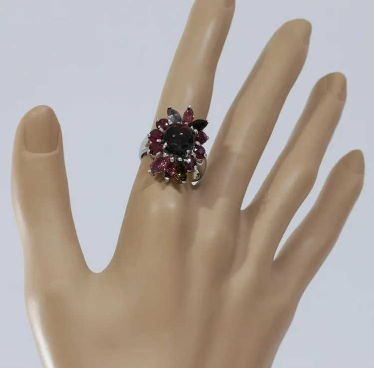 Opal Ruby Cocktail Ring | Tourmaline Sterling Sil… - image 2