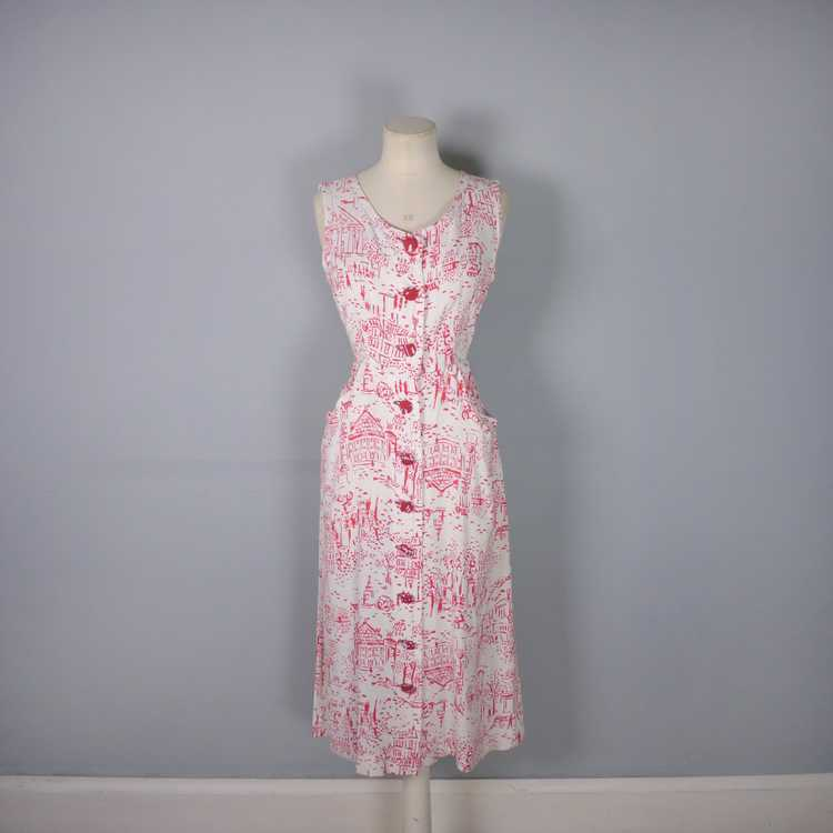 40s RED WHITE NOVELTY DRESS AND BOLERO IN PARISIA… - image 5