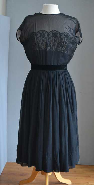 1950's Black Lace & Chiffon Dress