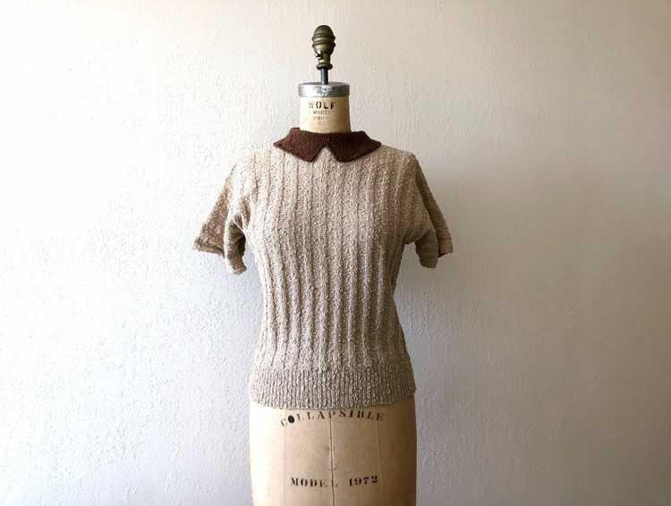 1940s knit top . vintage 40s wool knit sweater - image 1