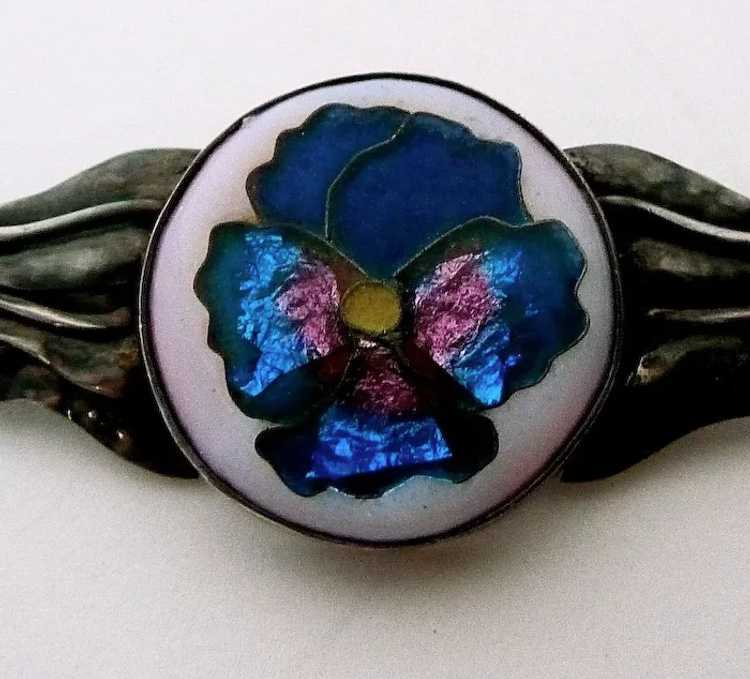 Handcrafted Sterling Cloisonne Enamel Pansy Pin - image 3