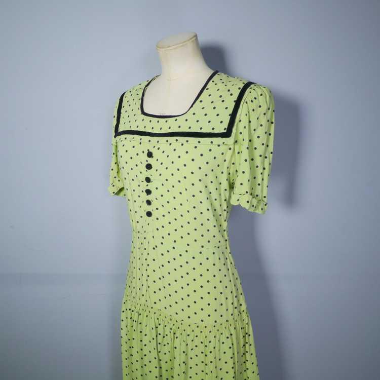 30s 40s LIME GREEN AND BLACK POLKA DOT TEA DRESS … - image 9
