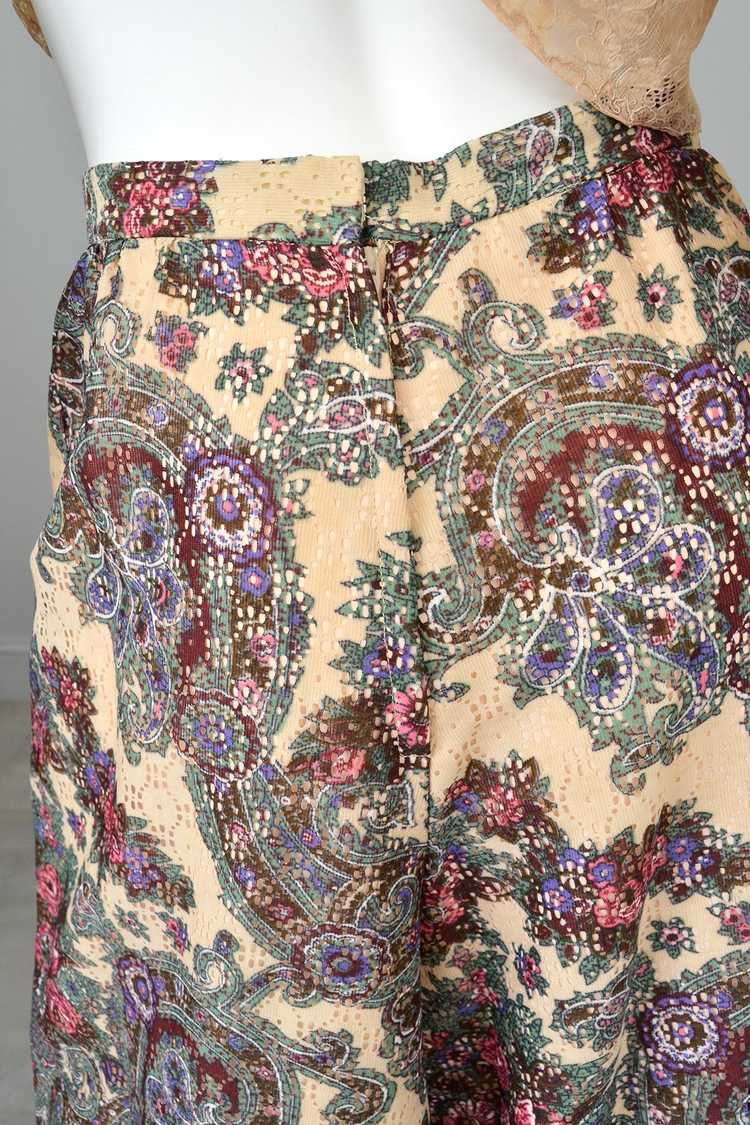 1970s Lacey Floral Print Palazzo Pants - image 3