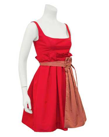 Prada Red Taffeta Cocktail Dress With Apron
