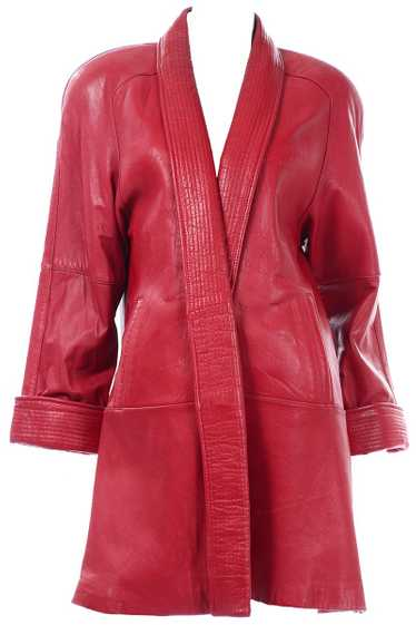 1980s Red Vintage Leather Open Front Coat With Sha