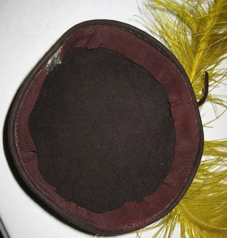 1920's Skull Cap / Hat Ostrich Feather Fascinator - image 3