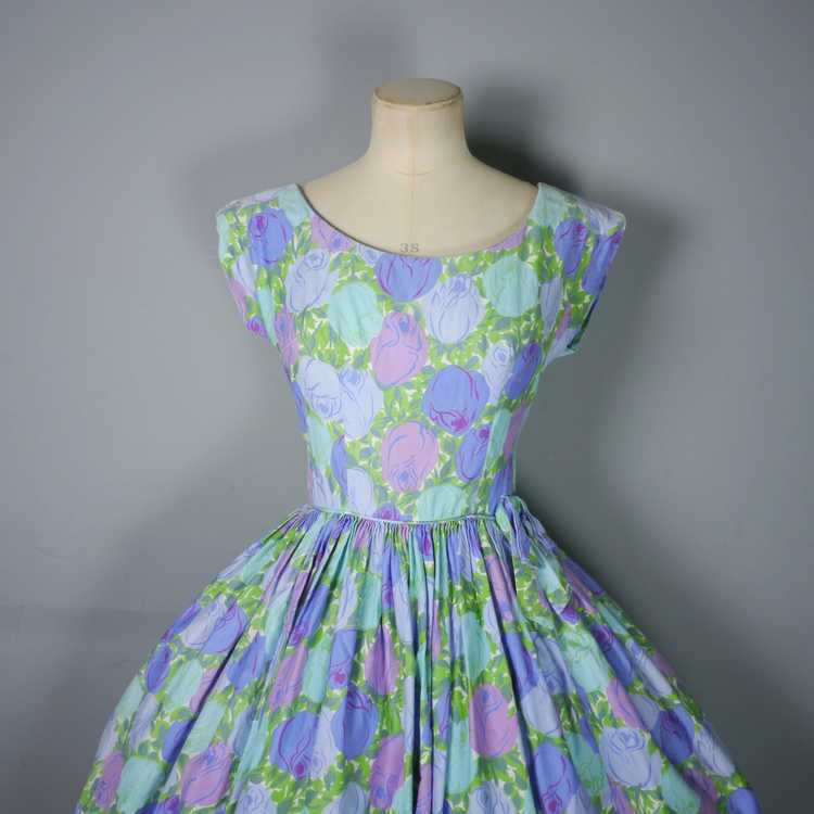 50s FLORAL ROSE DRESS IN BLUE, GREEN AND LILAC CO… - image 7