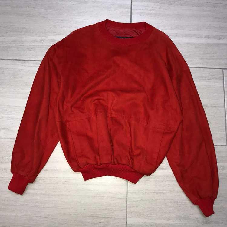 Italian Designers × Vintage Red Leather Crewneck … - image 1