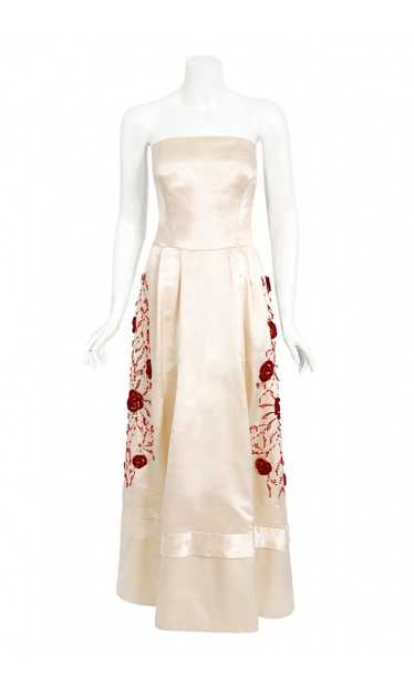 1950's Harvey Berin Embroidered Floral Ivory Silk