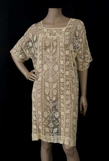 Embroidered knotted net lace tunic, 1920s