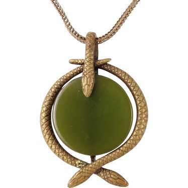 Brass Snake Green Bakelite Necklace