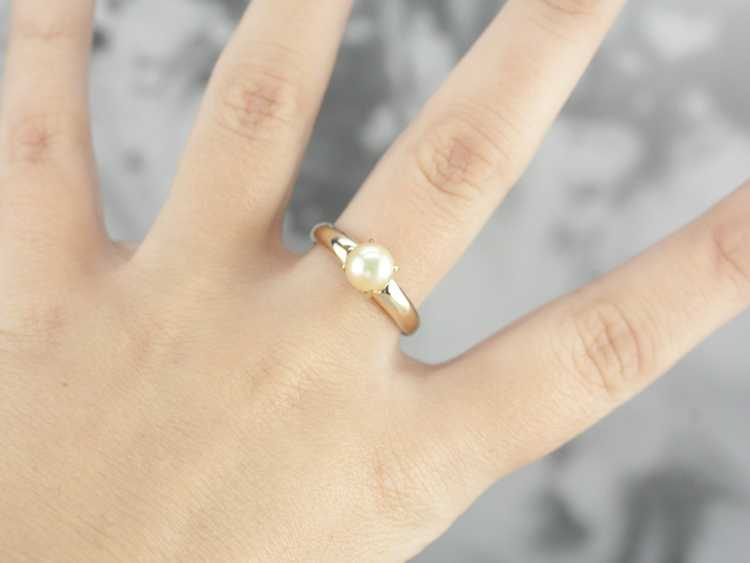 Classic Pearl Solitaire Gold Ring - image 4