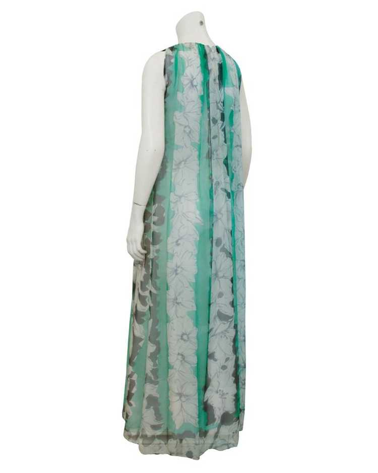 Pauline Trigere Green and Grey Chiffon gown - image 2