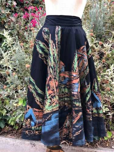 40s Vintage Hand Painted Mexican Circle Skirt