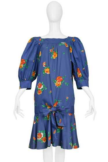 YSL BLUE FLORAL DROP DRESS
