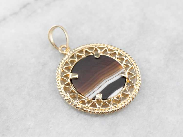 Mid Century Banded Agate Pendant - image 5